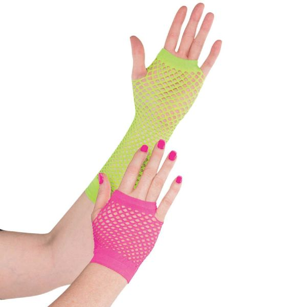 Adults Neon Fishnet Glove Fancy Dress Outfit Accessory